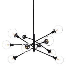 Sonneman Lighting Orb 10-light Pendant (Satin Black, Clear) (Glass)