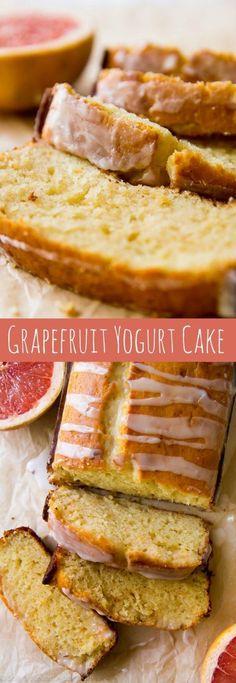 Grapefruit Greek Yogurt Cake - Unbelievably moist grapefruit loaf cake made with Greek yogurt and fresh grapefruit juice! The flavor and texture are both incredible! Homemade Yogurt Recipes, Homemade Greek Yogurt, Greek Yogurt Recipes, Baking Recipes, Grapefruit Yogurt Cake, Grapefruit Juice, Grapefruit Recipes Healthy, Grapefruit Ideas, Breakfast