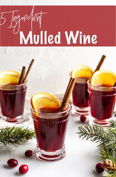 Want an easy, crowd-pleasing cocktail? This 5 Ingredient Mulled Wine will warm your heart and knock your socks off it's so good. 5 simple ingredients come together on the stove or in a crockpot for a cup of cheer. Tom Collins, Cocktail Recipes, Wine Recipes, Bread Recipes, Mulling Spices, Dry Red Wine, Healthy Cocktails, Five Ingredients, Winter Drinks