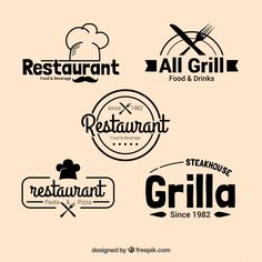 Restaurant Logo Psd - These free seafood restaurant logos can be good for implementing a lot of designers ideas as well. Restaurant L. Logo Restaurant, Restaurant Fast Food, Resturant Logo, Restaurant Vintage, Restaurant Design, Logo Café, Logo Psd, Cafe Logo, Logos Vintage