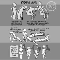 "grizandnorm: ""Tuesday Tips — Grow A Spine As simple as it sounds, a character ""standing up straight"" or ""slouching down"" reveals so much about them. It would be unwise to not think about the role of the spine when posing out your character. Human Figure Drawing, Figure Drawing Reference, Art Reference Poses, Design Reference, Gesture Drawing, Anatomy Drawing, Drawing Poses, Drawing Tips, Spine Drawing"
