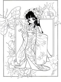 """Hen the Mai-Hime""Japanese Coloring Colouring Pics, Coloring Book Pages, Printable Coloring Pages, Coloring Sheets, Colorful Drawings, Colorful Pictures, Henna Tatoo, Lineart Anime, Mai Hime"