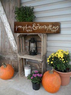 Pumpkin decor, rustic fall decor, fall signs, pumpkin sign, pumpkin spice d Rustic Fall Decor, Fall Home Decor, Autumn Home, Country Decor, Country Homes, Pumpkin Decorating, Porch Decorating, Decorating Ideas, Boho Home