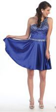 Cute Little One One Shoulder Royal Blue Cocktail Dress Sequin Beads Short