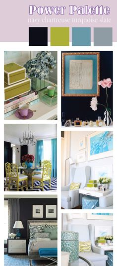 power palette: navy chartreuse turquoise and slate    www.olivialaurendesign.tumblr.com
