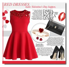 """""""Red dress"""" by edita-m ❤ liked on Polyvore featuring Levtex, Chicwish, Jimmy Choo, Salvatore Ferragamo, Adriana Orsini, women's clothing, women, female, woman and misses"""