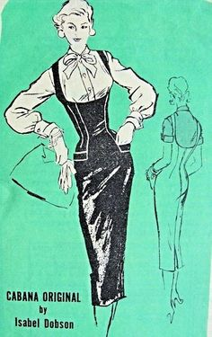 1950s Slim Jumper and Blouse Pattern Steaming Hot Isabel Dobson Prominent Designer A746 Wiggle Figure Show Off Shelf Bust Jumper Dress Bow Tie Blouse Bust 34 Vintage Sewing Pattern FACTORY FOLDED