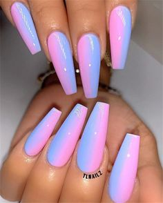 The ombre coffin nails design are so perfect for 2019 spring and summer! Coffin nails are always fashionable.With all the new styles of Ombre coffin nails, you have a lot of choices, a Summer Acrylic Nails, Best Acrylic Nails, Colored Acrylic Nails, Neon Nail Designs, Acrylic Nail Designs, Coffin Nails Designs Summer, Nail Swag, Fantastic Nails, Fire Nails