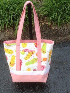Pink flip flop tote bag by LislynDesigns on Etsy