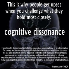 Cognitive Dissonance: refers to a situation involving conflicting attitudes, beliefs or behaviors. This produces a feeling of discomfort leading to an alteration in one of the attitudes, beliefs or behaviors to reduce the discomfort and restore balance. C G Jung, Leadership, Torah, Critical Thinking, Thinking Skills, Coaching, Knowledge, Mindfulness, Thing 1