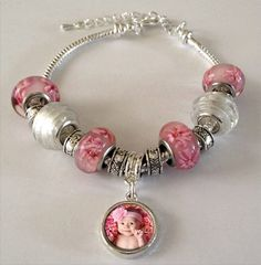 Euro Bead Photo Jewelry Bracelet! European photo bead bracelet kit is the perfect gift for your mom, sister, aunt or best friend! Includes: -One danglingsilver