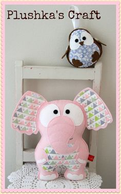 Plushka's craft - cute robin and elephant using Saffron Craig's new Wombat Wonderland fabric range.  So cute!