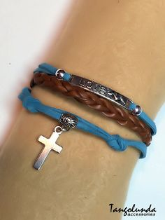 Blue and Brown Love Cross Bracelet Leather & by Tangolunda Gifts $9.50