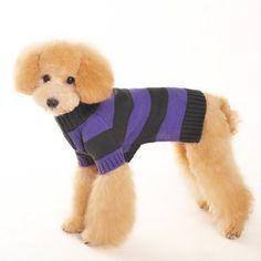 Sporty Stripe Turtleneck Dog Sweater - Purple | PupLife Dog Supplies