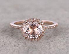 3 stenen Morganite Engagement ring Rose goud diamanten