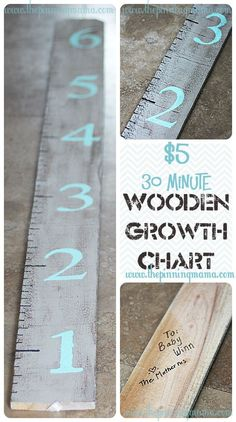 AN awesome DIY Growth chart. Grey wash wood with mint numbers.