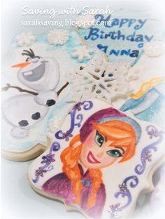 Disney Frozen Cookies, hand painted frozen cookies, Anna, Elsa, Olaf #frozen #disneyfrozen Frozen decorated cookies, Frozen Birthday Party