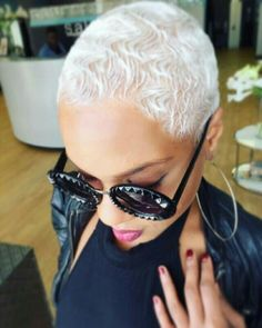 Well, one of the most trendy haircuts this year is the pixie haircut. Short Sassy Hair, Short Grey Hair, Short Blonde, Short Hair Cuts, Blonde Pixie, Pixie Cuts, Blonde Twa, Platinum Blonde Hair, Platinum Pixie