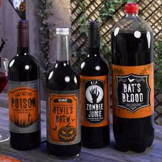 Halloween Graveyard Bottle Labels. Add some extra fear to your fizz this Halloween with this set of halloween bottle labels.  Dress up your party drinks with these freakishly frightening bottle labels. Entice guests to pour themselves a glass of 'Bat's Blood', 'Devil's Brew', 'Poison' or 'Zombie Juice', a great way to jazz up shop-bought drinks and give them a Halloween makeover. Each pack includes 4 bottle stickers.  Easy to apply to glass, plastic bottles or jars. #Halloween #party #drinks