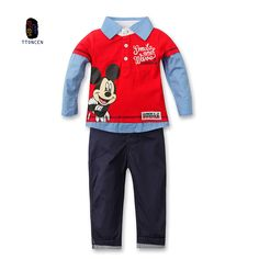 new Children's Mickey casual set shirts and pants Fashion baby Cartoon clothing Suits Mouse clothes  Children Clothing Set