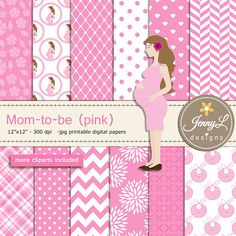 Pregnant Mom Digital papers and Clipart SET Mom-to-be for