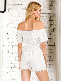 Shop White Off Shoulder Flounce Pom Pom Romper Playsuit from choies.com .Free shipping Worldwide.$13.9