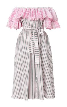 Floral Embroidered Off The Shoulder Midi Dress by GüL HüRGEL for Preorder on Moda Operandi