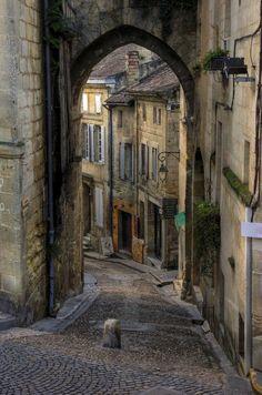 Rue in Sainte-Emillion, Bordeaux region, France.