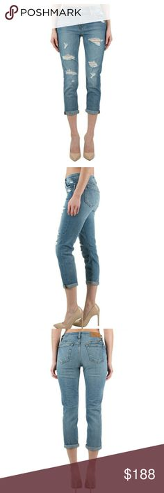"""Coming 3/9 Joe's Jeans  The Billie Crop Color: Bijou  TheBillie Ankle is a light-blue wash ankle-cropped boyfriend jean. It's well-worn look makes it alsowell loved.  PRODUCT DESCRIPTION  Joe's Jeans  Boyfriend  Zip fly with button closure  5 pocket styling with signature arc stitch on back pockets  Leather tag on the right waistband  Straight fit through hips and thighs  8.75"""" front rise  12"""" leg opening  26.75"""" inseam  98% cotton, 2% elastane  Machine wash cold; Hang dry…"""