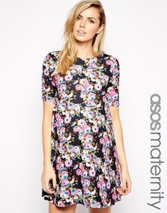 ASOS+Maternity+Textured+Swing+Dress+in+Floral+Print+with+Half+Sleeve