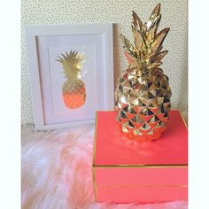 Gold pineapple decor & coral box for office #PrettyLittleShowers