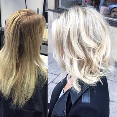 Blonde hair, balayage, Olaplex, lob, page, bob: Instagram @stylebylizette