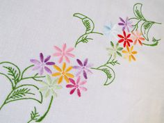 Vintage Linen Square Tablecloth. Large with Hand Embroidered