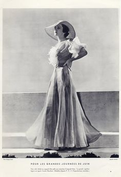 Maggy Rouff (Couture) 1934 Photo Georges Saad, Louise Bourbon Capeline
