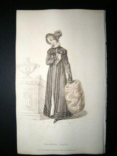 Ackermann 1820 Hand Col Regency Fashion Print. Walking Dress 9-16 | Albion Prints