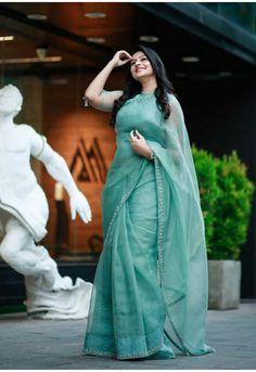 Malayalam Actress Gaadha photoshoot stills by Pranav Raaj - South Indian Actress Trendy Sarees, Stylish Sarees, Fancy Sarees, Stylish Dresses, Simple Sarees, Half Saree Designs, Silk Saree Blouse Designs, Saree Blouse Patterns, Belle