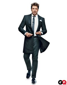 Coat, $2,295, shirt, $295, tie, $155, and pants, $495, by Ralph Lauren Black Label. Pocket square, $40 by Polo Ralph Lauren. Tie bar, $15 by The Tie Bar. Shoes, $895 by Salvatore Ferragamo. Belt by Tom Ford. Watch by Piaget.
