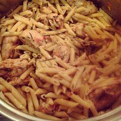 Fresh summer Pasta!! Light and delicious!  #penne #freshgardenveggies #freshherbs #chicken #romano #yummy