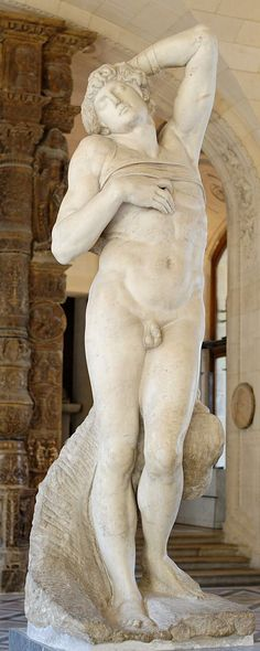 """Dying Slave"" by Italian Renaissance sculpture and artist Michelangelo, It is carved of marble and is on display at the Louvre in Paris. Renaissance Kunst, Renaissance Artists, Italian Renaissance, Miguel Angel, Michelangelo Sculpture, Baroque Sculpture, Andrea Mantegna, Italian Sculptors, Louvre Paris"