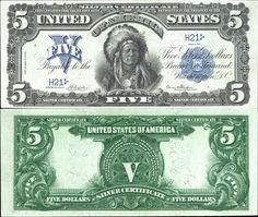 US 5 Dollar Note     Series 1899     Serial# H21     Signatures: Napier / Thompson      Portrait: Ta-to-ka-in-yan-ka (Running Antelope)
