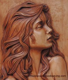 woman wood carving