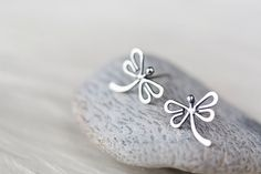 Dragonfly Stud Earrings Handmade Solid sterling by CookOnStrike, $29.00