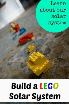 Learn about our solar system by building a Lego Solar System. The kids will have fun learning cool facts about each planet and playing with Lego too! Fun science activity for kids. Science Activities For Kids, Science Fair Projects, Learning Activities, School Projects, Teaching Science, Science Experiments, Kid Science, Space Activities, Preschool Science