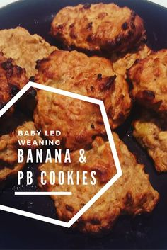 Banana and Peanut Butter Oat Cookies, perfect for baby led weaning (BLW) as a snack or as part of a healthy lunch. Easy and simple recipe using bananas, oats and peanut butter. Delicious cookies that taste great for the whole family including toddlers