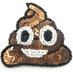 """Poo with Brown Sequins White Black Beads 2.5"""" x 2.5"""""""