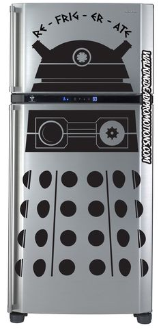Dalek refrigerator decal; RE-FRIG-ER-ATE!