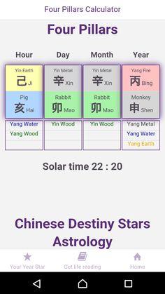 Free Four Pillars Calculator in  Chinese Destiny Stars Astrology App