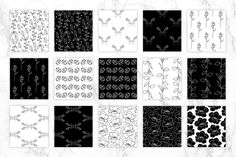 Petal Noir - Pattern Pack - Patterns - Each individual element has been hand drawn and carefully crafted into patterns to create a beautiful and classic look. These patterns would be perfect for packaging, stationery, invitations, textiles, wallpaper, blog elements or digital scrapbooking.