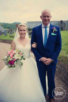 Father and daughter, Devon Farm wedding