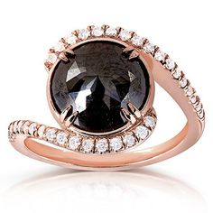 Round Rose-Cut Black and White Diamond Bypass Ring 3 7/8 Carat (ctw) in 10k Rose Gold_7.0